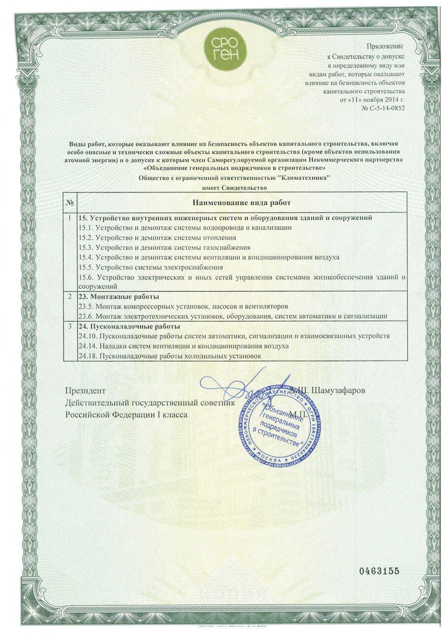 Лицензии и сертификаты - Компания Климатехника